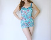 RESERVED. vintage 1960s baby blue swimsuit / 60s bombshell pin up bathing suit / size large - xl