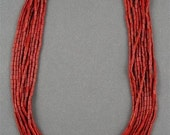 RESERVE Vintage Glass Bugle Beads - Brick Red