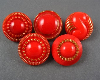 Vintage Glass Buttons - Red assorted with Gold Metallic