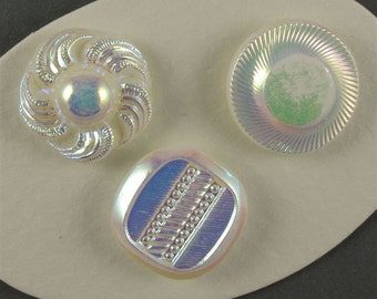 Vintage White Glass Buttons with AB - 3