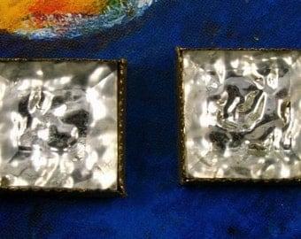 Vintage Glass Buttons - Silver Ice set in Brass Bezel - 2