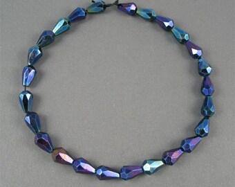 Czech Glass Faceted Fire Polish 7mm X 10mm Drops - Blue Iris