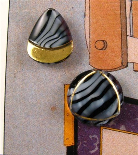 Vintage German Glass Moonglow Buttons - 2