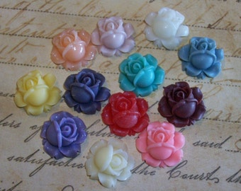 12 piece 16 mm Resin Flower Flatback Cabochon Supplies Lot Matte Floral Rose US Shipping