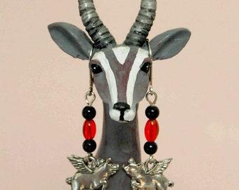 Orange n Black Pigasus Earrings, Flying Pig Earrings, Pigs with Wings Earrings, When Pigs Fly Dangle Earrings, Halloween Earrings