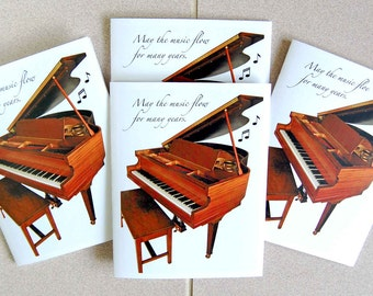 Music Geek Baby Grand  4 Card Set, Piano Blank Note Card Set, Music Greeting Card Set