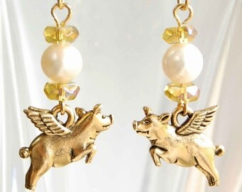Pigasus Under a Full Moon Earrings, Flying Pig and Pearl Earrings, Fancy Pig With Wings Earrings, When Pigs Fly Freshwater Pearl Earrings
