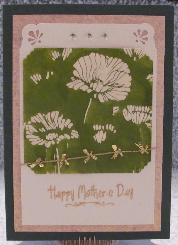 Happy Mother's Day Green and Gold Floral A7 Card Mom Mothers Mommy Card Floral Gold