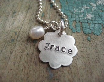 Personalized little sterling silver flower necklace