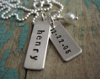 Personalized sterling silver hand stamped name tag and date necklace