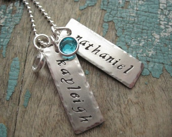 Personalized jewelry for mom, hand stamped,  sterling silver hammered name tags, birthstones necklace, gifts for mom,
