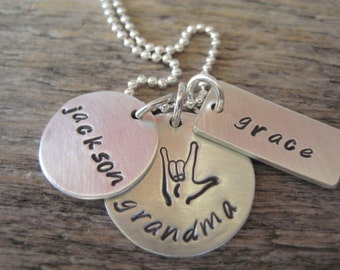 Personalized i love you grandma necklace