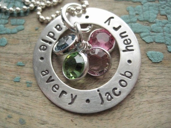 Personalized jewelry, hand stamped jewelry, sterling washer with birthstones, mother's necklace, kids name necklace