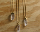 Gold Plated Quartz Crystal on Delicate Ball Chain