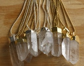 Silver Dipped Quartz Crystal on Delicate Silver Ball Chain