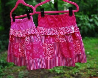 Girl's Patchwork Skirt, Girl Skirts, Quilted Skirt, Ruffled skirt, Toddler Skirt, Children clothing, Back to School Clothes, Pink, size 3
