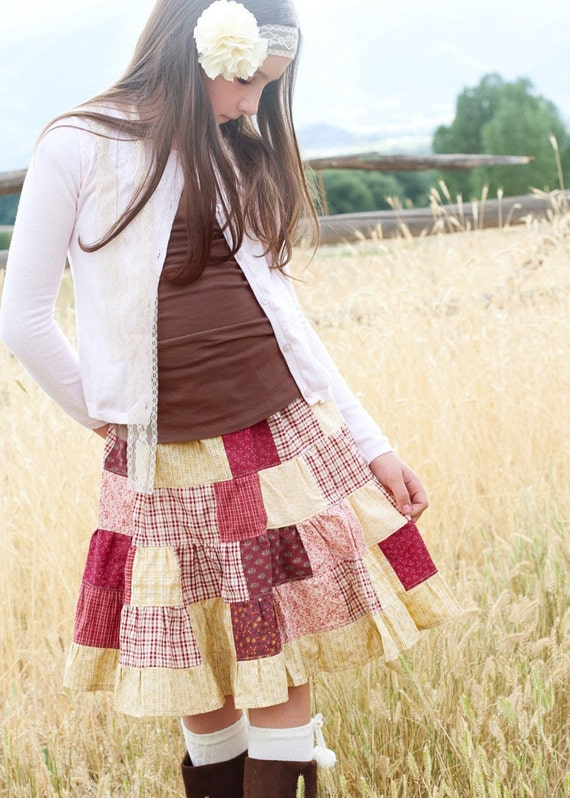 Girls Patchwork Quilt Skirt...Harmonygirlsclothing
