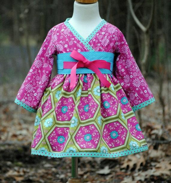 Girls Kimono Dress with Obi, Girl Dresses, Children Clothing, Pink, child, Toddler, Girl Clothing, Size 2T 3T 4T 5 6 7 8, long sleeve