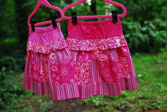 Girl's Patchwork Skirt, Girl Skirts, Quilted Skirt, Children clothing, Toddler, Pink, size 2T, 3, 4, 5, 6, 7, 8