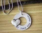 I Love You More Necklace - Sterling Silver Open Circle Washer Necklace -Tagyoureitjewelry - love you more jewelry - gift for mom