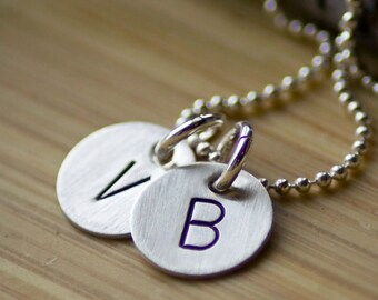 Initial Necklace - Personalized Initial Small Letter Necklace - Hand Stamped Jewelry - Custom Jewelry