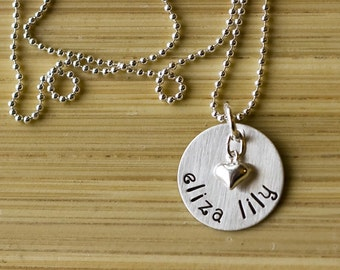Hand Stamped Mother's Love sterling necklace with names and heart personalized by tagyoureitjewelry on etsy