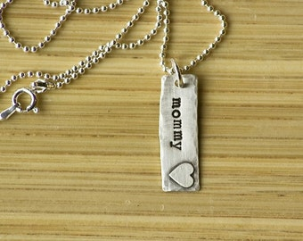 Mommy Necklace - Mommy Jewelry - Hand Stamped Jewelry - Gift for New Mom - Tagyoureitjewelry - Personalized Jewelry - Custom Necklace