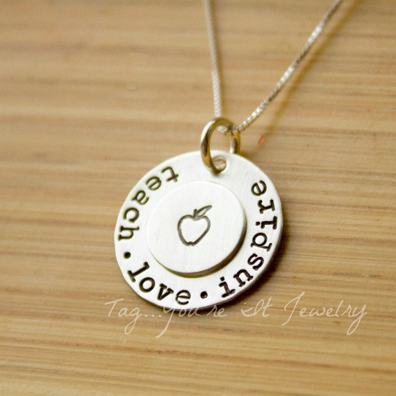 personalized teacher gift, teach love inspire sterling silver