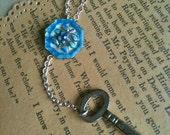 Antique Blue Enamel Flower Button and Key Necklace