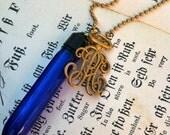 Antique Evening in Paris Perfume Vial Necklace - Cobalt Blue