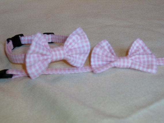 Seersucker Break Away Bowtie Collar For Cats