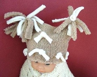 SEWING PATTERN hat FF5 ,  Furry Flat Top Tassel Hat , sizes newborn to age 12 - Instant Download