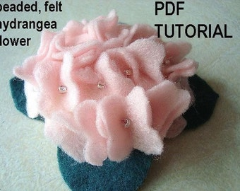 Instant Download FF 148 PDF TUTORIAL Hydrangea flower. Make it any size or color. no sewing machine required.