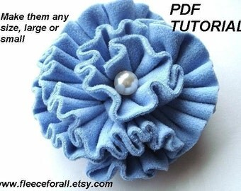 FF21...PDF tutorial Blue Ruffled Polar Fleece or Felt Flower. - Instant Download -
