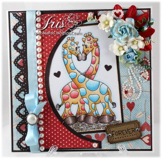 Forever - OOAK Handstamped Whimsy Valentine Card