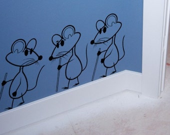 Nursery decal childrens wall decal kids room decor wall decor-3 blinds mice decal-28 X 13 inches