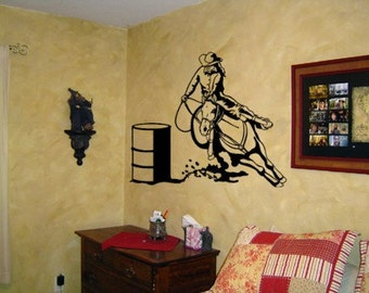 Horse decal-barrel racer-rodeo-sticker-28 X 24 inches.