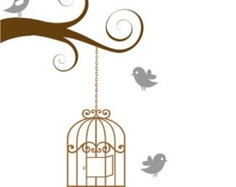 Tree branch decal-Tree decal-Birdcage decal-Bird decal-Wall decal-Room decor-24 X 35 inches