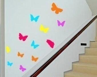 Butterfly wall decal, girls bedroom butterfly, dorm room wall decor, laptop decal, nursery wall, teen room decal, 12 flying butterflies