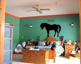 Horse decal-Personalized-Horse sticker-Pony-Vinyl wall decal-28 X 41 inches