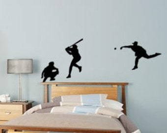 Baseball decal-Baseball sticker-Baseball room decor-Vinyl wall decal-28 X 90 inches,4032-SP