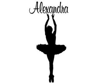 Ballerina decal-Ballerina sticker-Personalized decal-Personalized sticker-Wall decal-15 X 32 inches