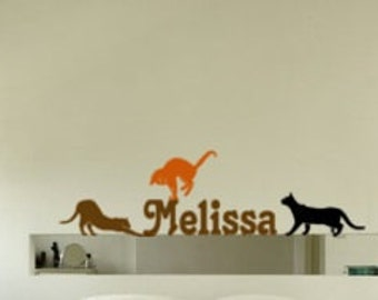 Girls name decal, kitten wall sticker, teen personalized wall decal, girls bedroom wall decal, cat sticker, child room decor, 50 X 16 inches