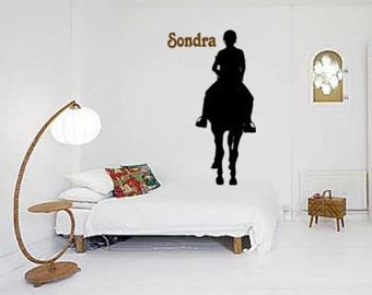 Horse decal-Horse rider sticker-Personalized horse wall decor-Big 60 X 23 inch decal
