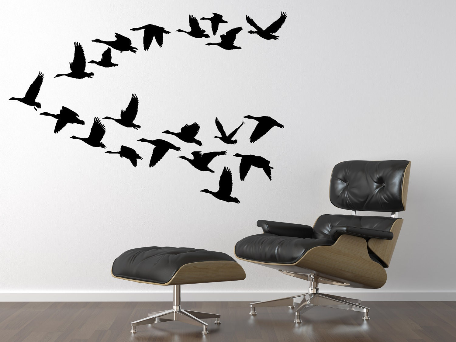 Geese flying decal 20 flying bird stickers 36 x 52 inch geese for Bird wall art