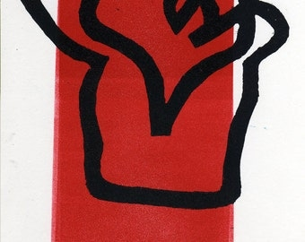 Heart in a Cup Valentine - Lino Print 1