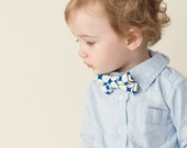 The Beau- modern blue dot double stacked bow tie for boys of all ages