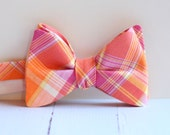 The Beau- NEW men's freestyle preppy plaid bow tie- pink and orange