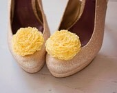 The Belle- je t'aime ruffle bloom shoe clips- yellow