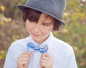 The Beau- blue and orange preppy plaid double stacked bow tie for boys and men of all ages
